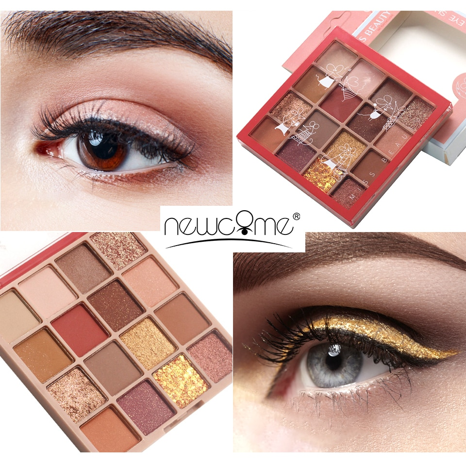 NEWCOME 8-16 colors Eyeshadow Palette Holographic Shiny Matte Glitter Pigment Eye Shadow Pallete Metallic Diamond Makeup Palette