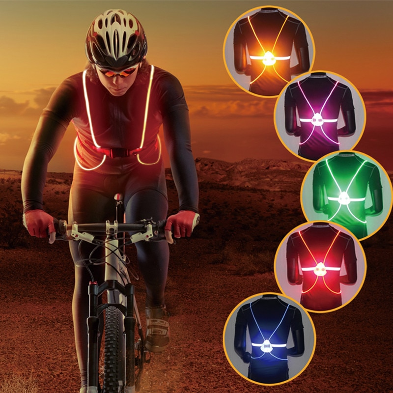 2021 Reflective LED Flash Driving Vest High Visibility Night Running Cycling Riding Outdoor Activities Safety Bike tactical Vest