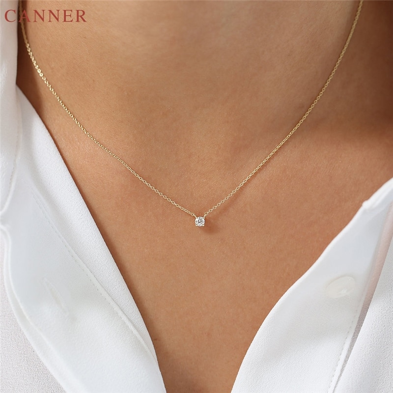 CANNER, gargantilla de circonia cúbica delicada, collar de mujer 925 Stelring plata CZ, collar de cristal, cadena de Color dorado, collares de regalo C40