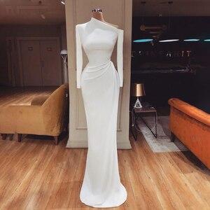 robe de soiree Satin Prom Dresses Pleats Mermaid Evening Dress Long Sleeves Dubai Modest Party Dresses vestido de noiva