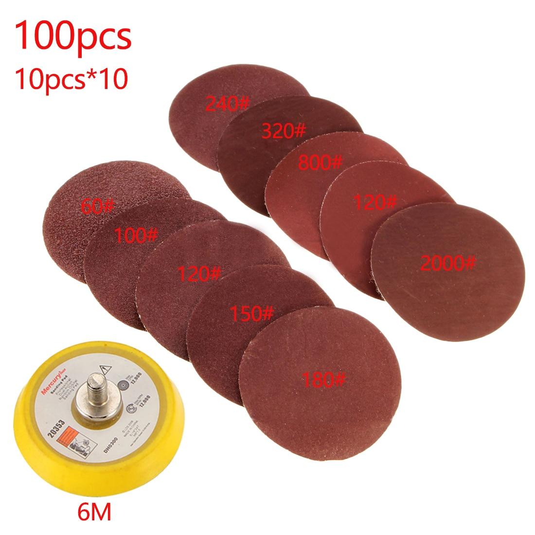 100 pçs/set Durável 50mm 60-2000 Grão Sander Disco de Papel + 1pc Placa de Gancho Loop Fit Dremel 4000 Moedor Elétrico Ferramentas Abrasivas
