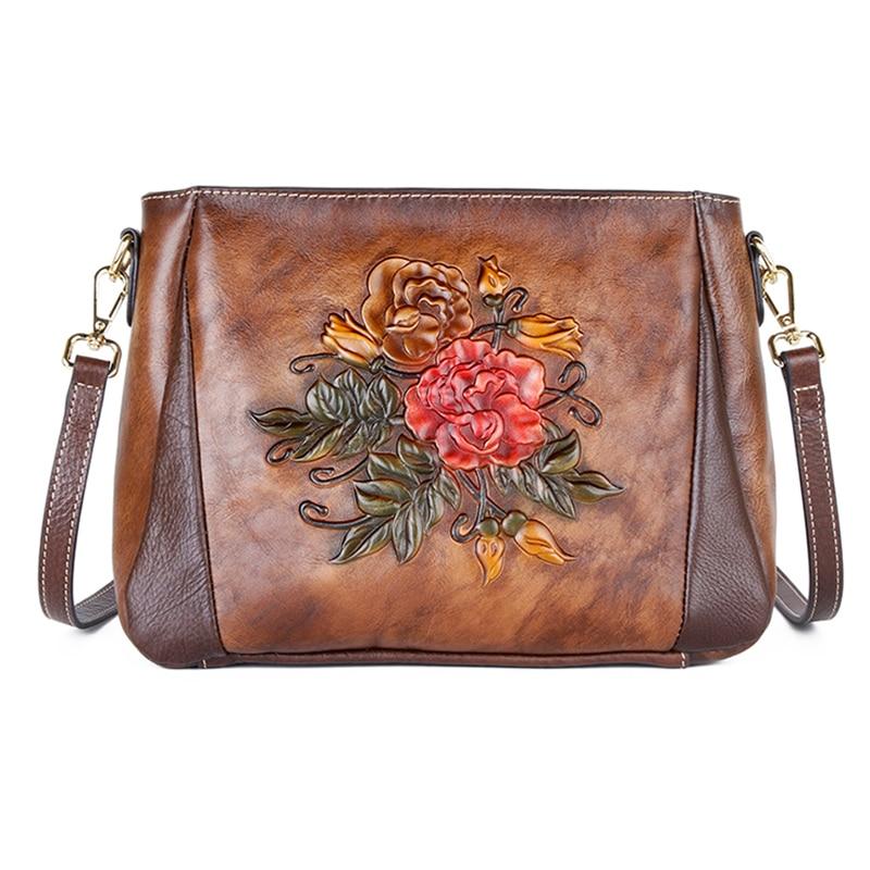 حقيبة كتف من الجلد الطبيعي للنساء ، حقيبة ذات نوعية جيدة ، نمط صيني قديم ، زخارف نباتية ، جلد طبيعي منقوش ، حزام كتف