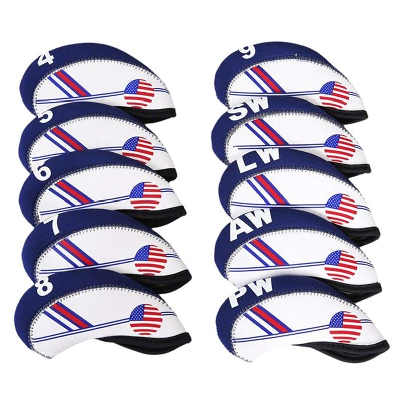 10Pcs American flag style Duplex Printing Waterproof Golf Club Head Iron Headcovers Blue White Head Cover