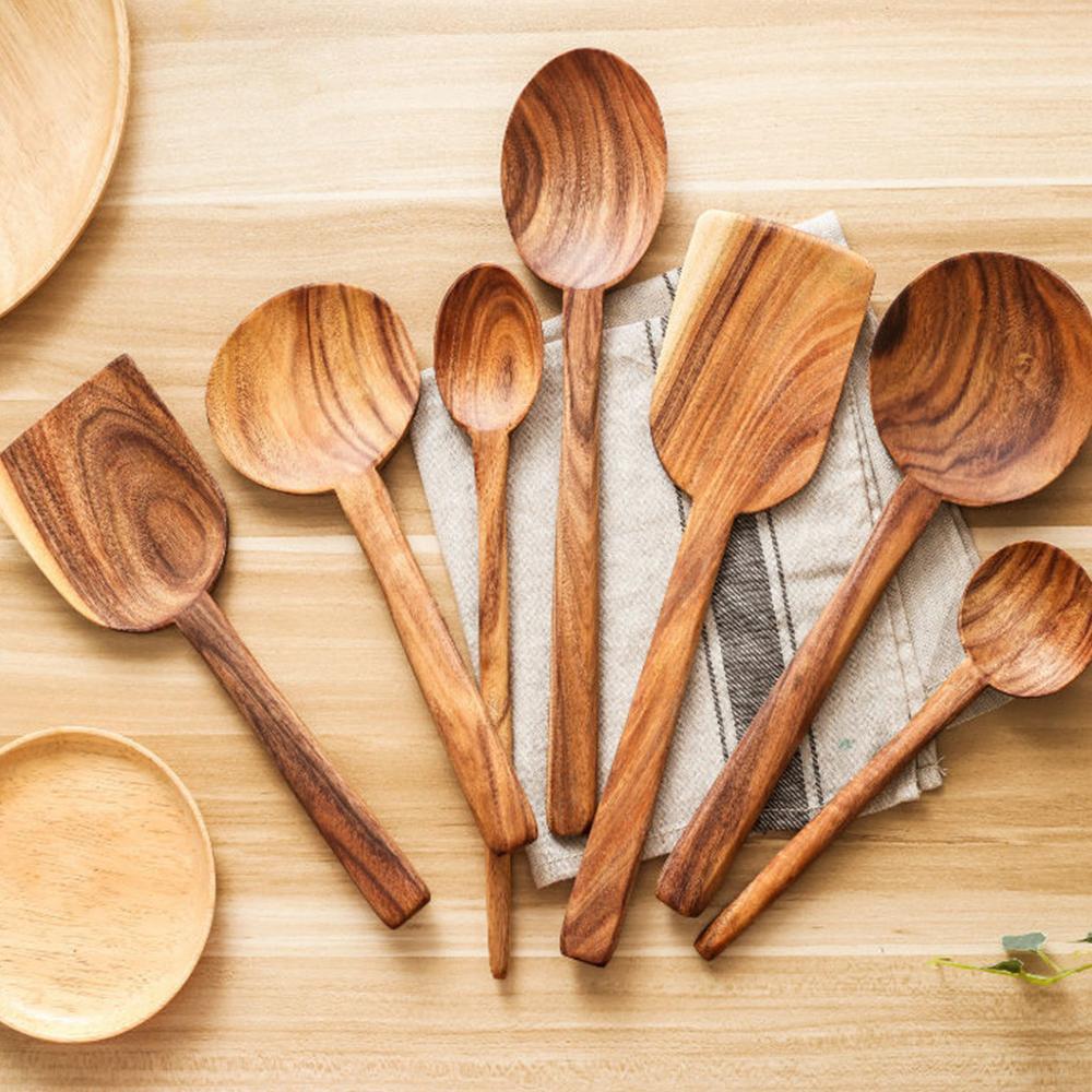 7 قطعة خشبية عشاء مجموعة حار بيع المنزل أطباق عصيدة عاء عشاء ملعقة اليابانية الحساء ملعقة للمنزل حزب أدوات المائدة مجموعة