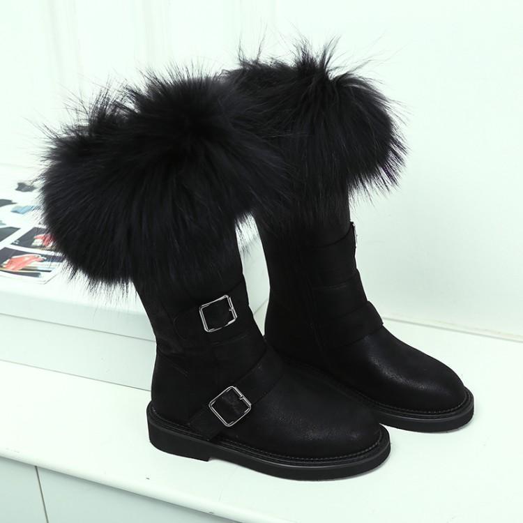 Botas de Neve Meados de Bezerro Sapatos de Couro Inverno Chique Mulheres Raposa Cabelo Botas Mujer Moda Feminina Chaussures Femme Botines Quentes 2021