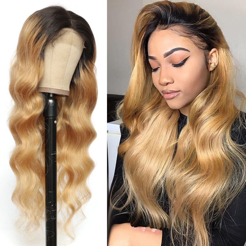 Ombre Honey Blonde 13x4 Lace Front Human Hair Wigs SOKU Brazilian Body Wave Lace Frontal Wig For Black Women 150% Remy Hair Wig