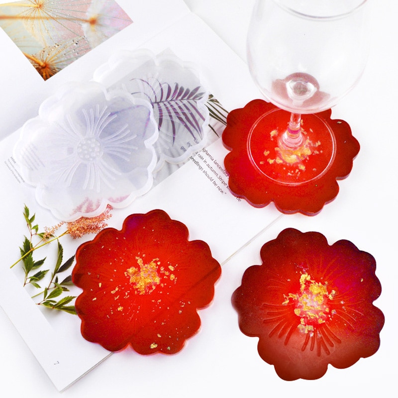 DIY Flower Coaster Silicone Mold UV Epoxy Resin Mould Tray Cup Mat Mold For DIY Crafts Table Decoration Supplies Components