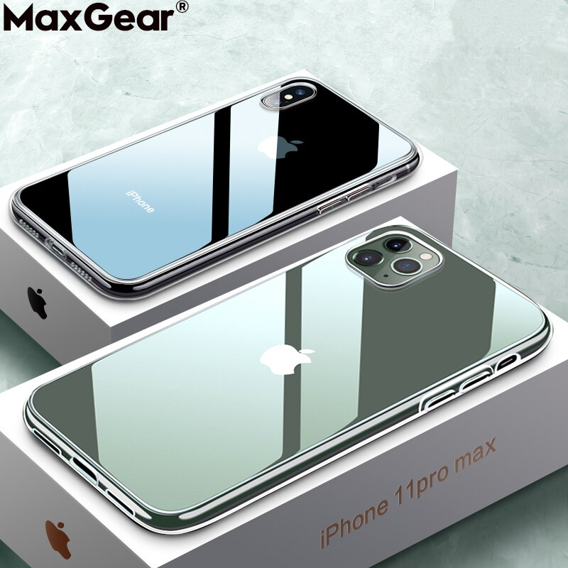 Funda transparente ultradelgada para iPhone 11 Pro XS Max X XR 6 6S 7 8 Plus 5S SE 2 suave funda de silicona de TPU Delgada funda transparente de cristal