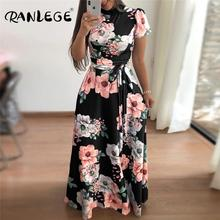 RANLEGE Frauen Sommer Kleid 2020 Casual Kurzarm Langes Kleid Boho Floral Print Maxi Kleid Rollkragen Elegante Kleider Vestido
