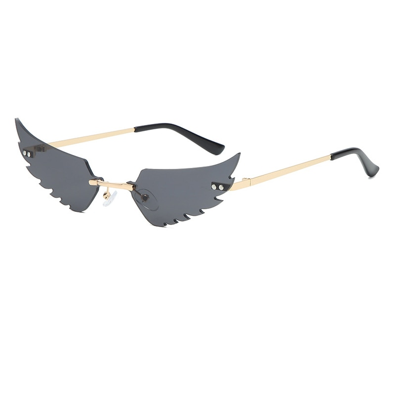 Luxury Fashion Fire Flame Sunglasses Women Rimless Wave Sun Glasses Metal Shades For Vintage Women M