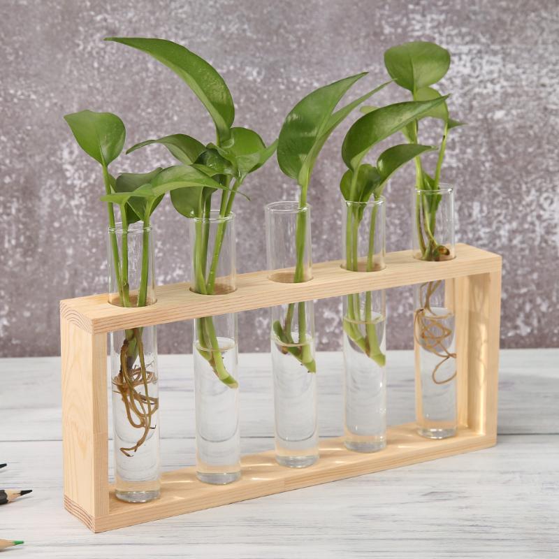 Jarrón de vidrio transparente marco de madera arte del hierro bonsái para terrario adornos de mesa