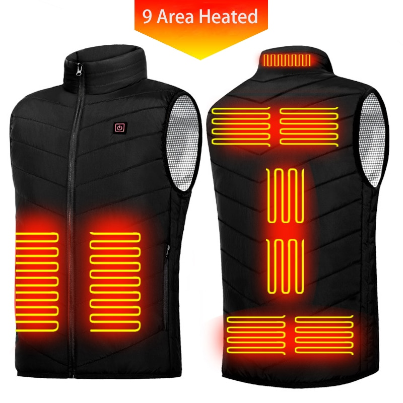 New 9 Areas Heated Vest Men Women USB Electric Heating Jacket Thermal Waistcoat Winter Hunting Outdo