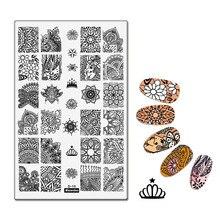 Bohême thème reine couronne designmodèle pochoir beauté outils Nail Art décorations Mandala dentelle timbre Nail Art estampage plaque