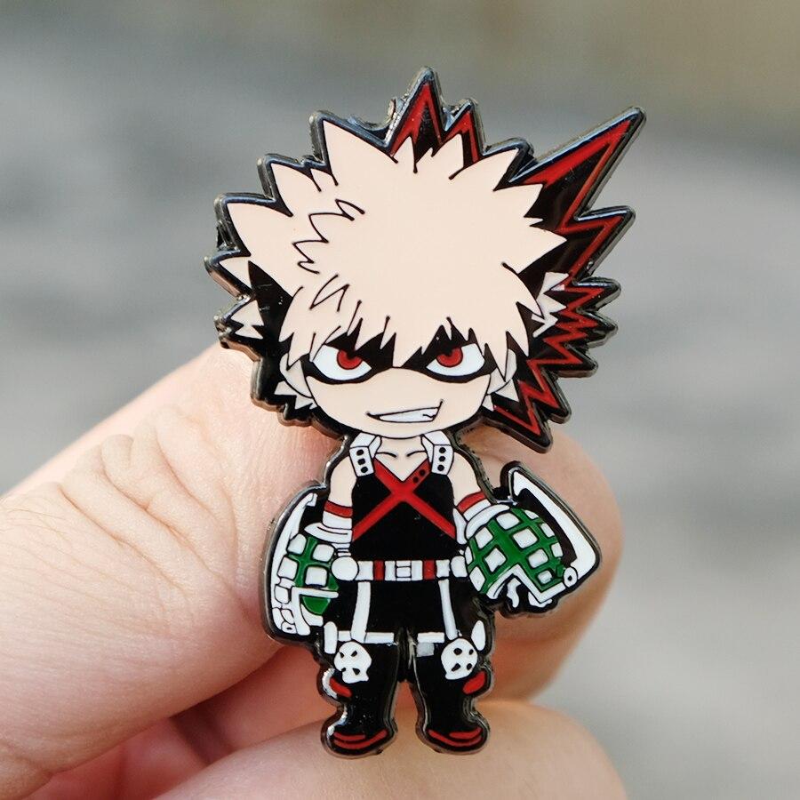 Mi héroe Academia Bakugo de clásico de dibujos animados esmalte pin botones broche Anime los amantes Denim solapa pin 5CM