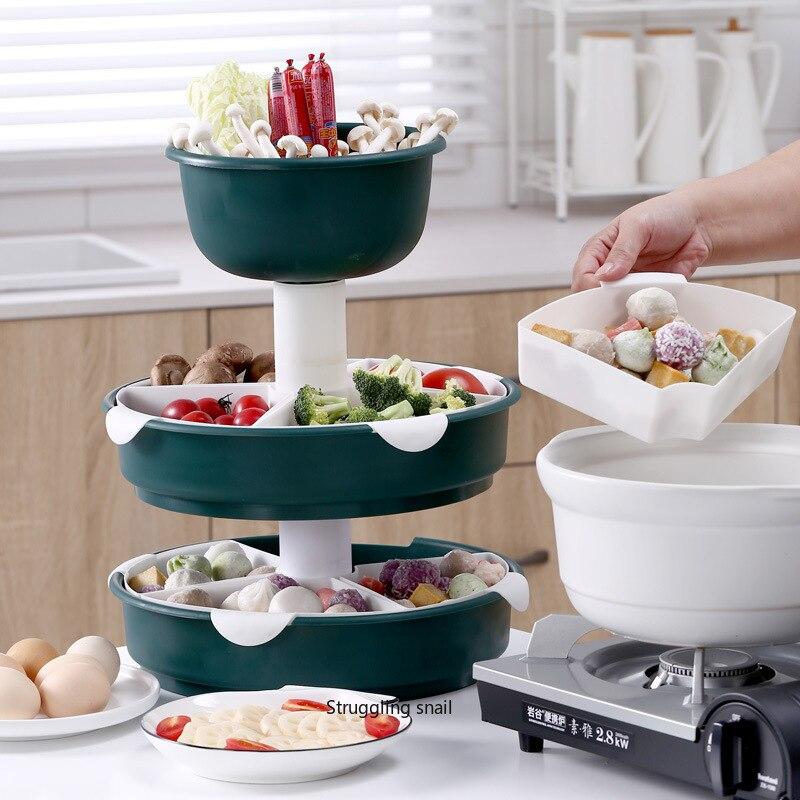 وعاء دوار متعدد الطبقات ، سلة تصريف ، طبق فاكهة ، سلة خضروات ، أواني مطبخ ، وعاء فواكه