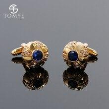 TOMYE classique hommes boutons de manchette mariage bleu strass plaqué or boutons de manchette haute qualité bijoux XK18S328