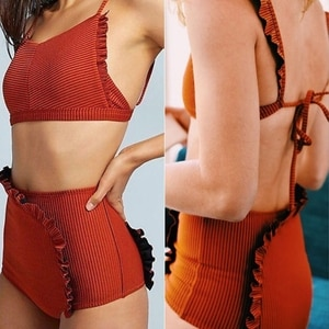 Women Sexy 2Pcs Padded Bikini Set Spaghetti Strap Backless Ribbed Swimsuit High Waist Irregular Ruffles Bathing Suit