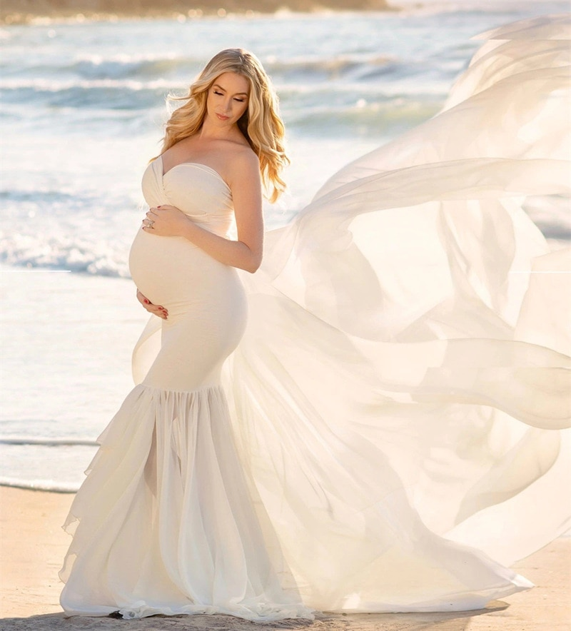 Purple Maxi Pregnancy Dress Photography Props Pregnant Women Tailing Long dress Sexy V Neck Off Shoulder Maternity Gown Dresses enlarge