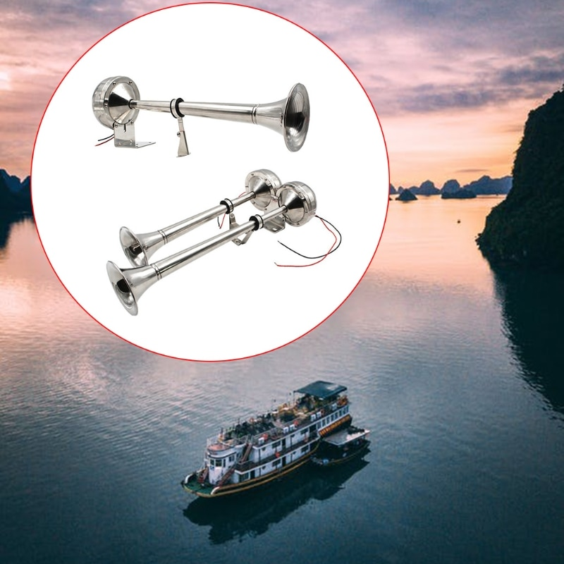 Stainless Steel Boat Trumpet Single/Double Trumpet Horn Anti-corrosion for Marine Car enlarge