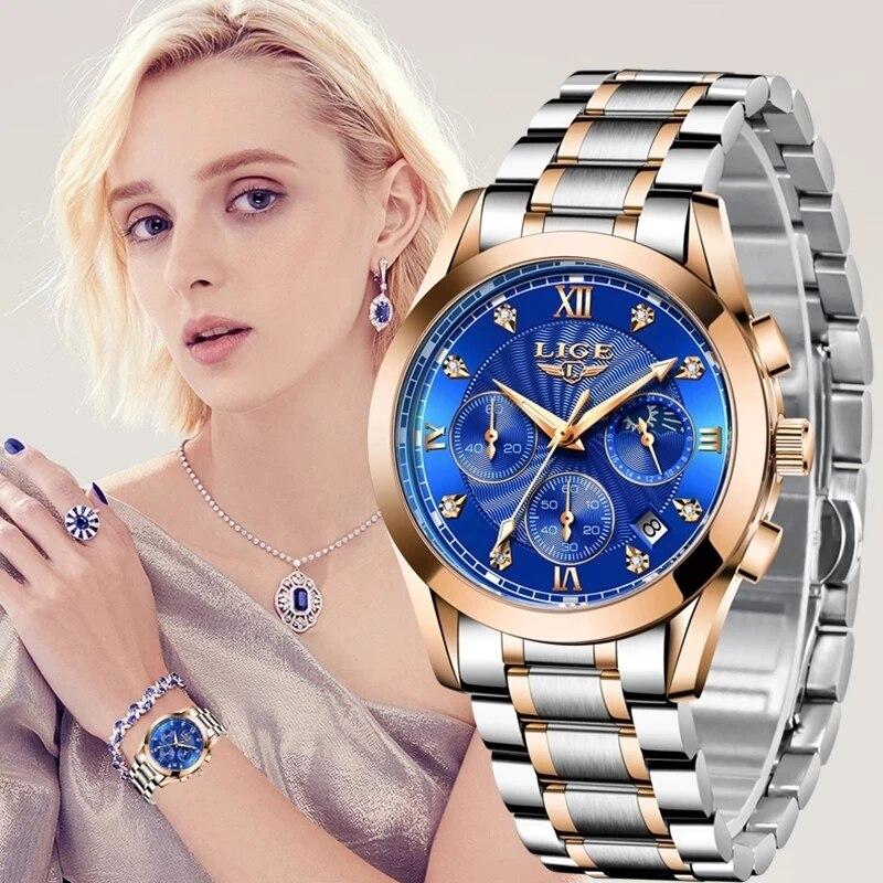 LIGE 2021 New Fashion Watch Women Watches Ladies Creative Steel Women Bracelet Watches Female Waterproof Clocks Relogio Feminino enlarge