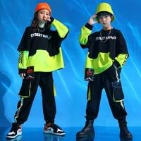 boys cool hip hop fake two sweatshirt girls 2 pcs set kids cargo pant dance clothes teen jazz street child costume streetwear