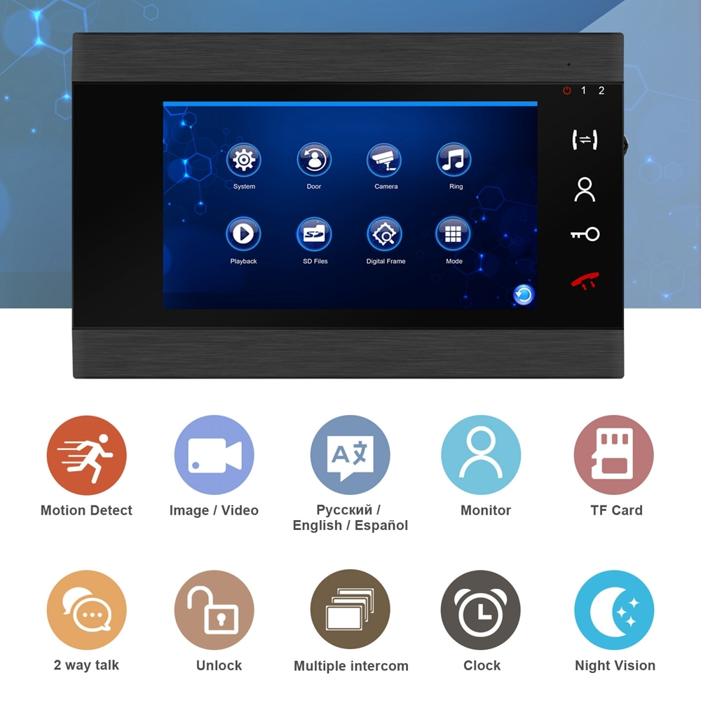 Wired Video Intercom with Lock Home Door Lock Intercom Access Control System  7 Inch Screen Talk Unlock Motion Detection Record enlarge