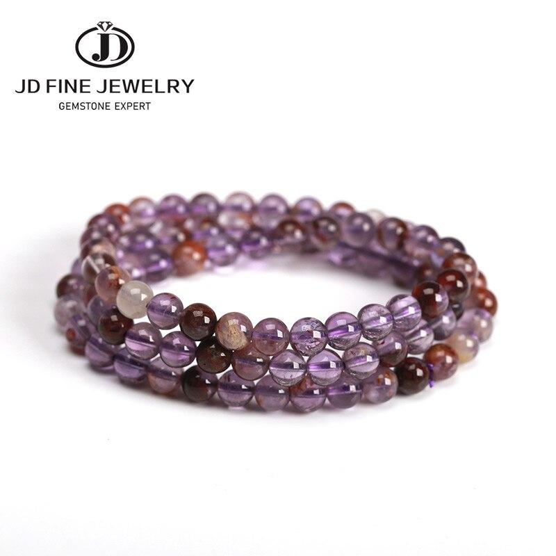 JD Drop Shipping Triple Quartz Wrap pulsera para mujer fantasía piedra hecha a mano multicapa púrpura Ghost Quartz joyería mujer moda