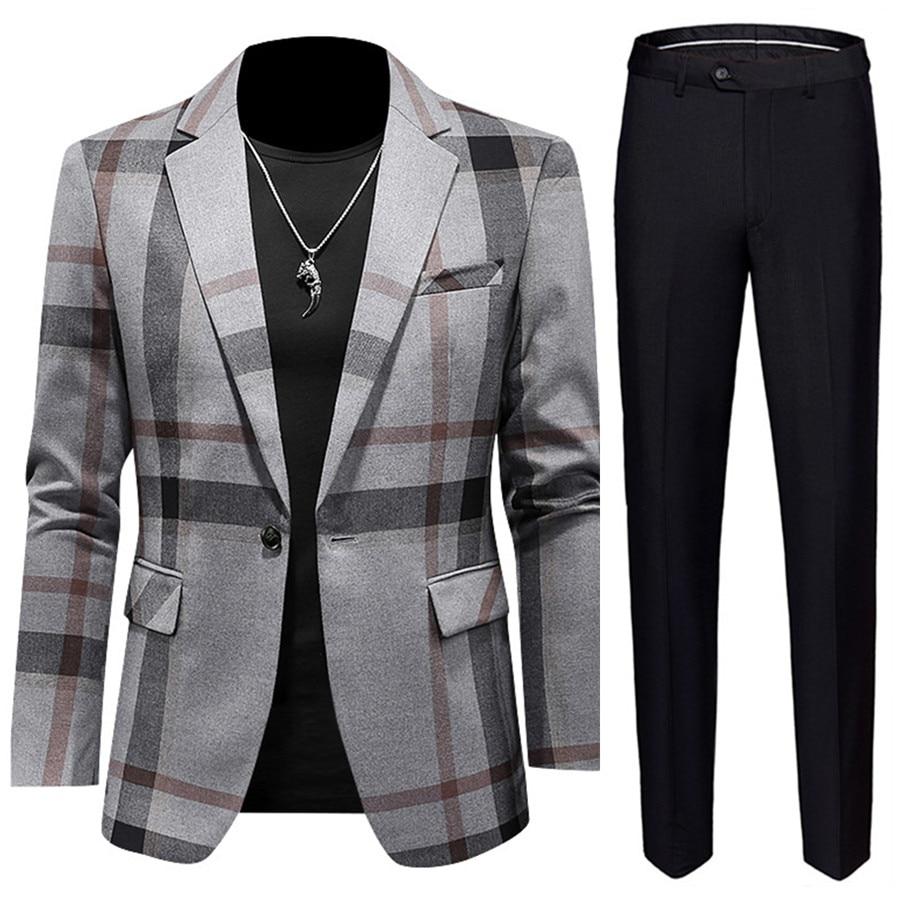 بدلة رجالية غير رسمية (3) ، مقاس كبير 5XL ، سترة مخططة رمادية وسراويل سوداء