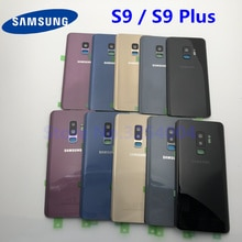 S9 задняя крышка батарейного отсека для Samsung Galaxy S9 Plus G960F G965F Задняя стеклянная крышка корпуса + клей + рамка для объектива камеры