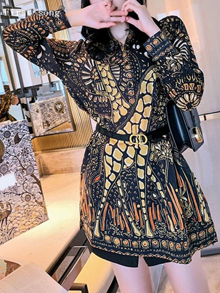 Minivestido de mujer elegante Retro de manga larga con cuello redondo y estampado geométrico de chifón de primera canción