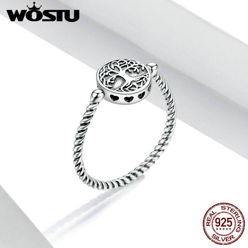WOSTU authentique 925 en argent Sterling arbre de vie pendentif anneaux pour les femmes plaqué platine bijoux désherbage bague FIR667