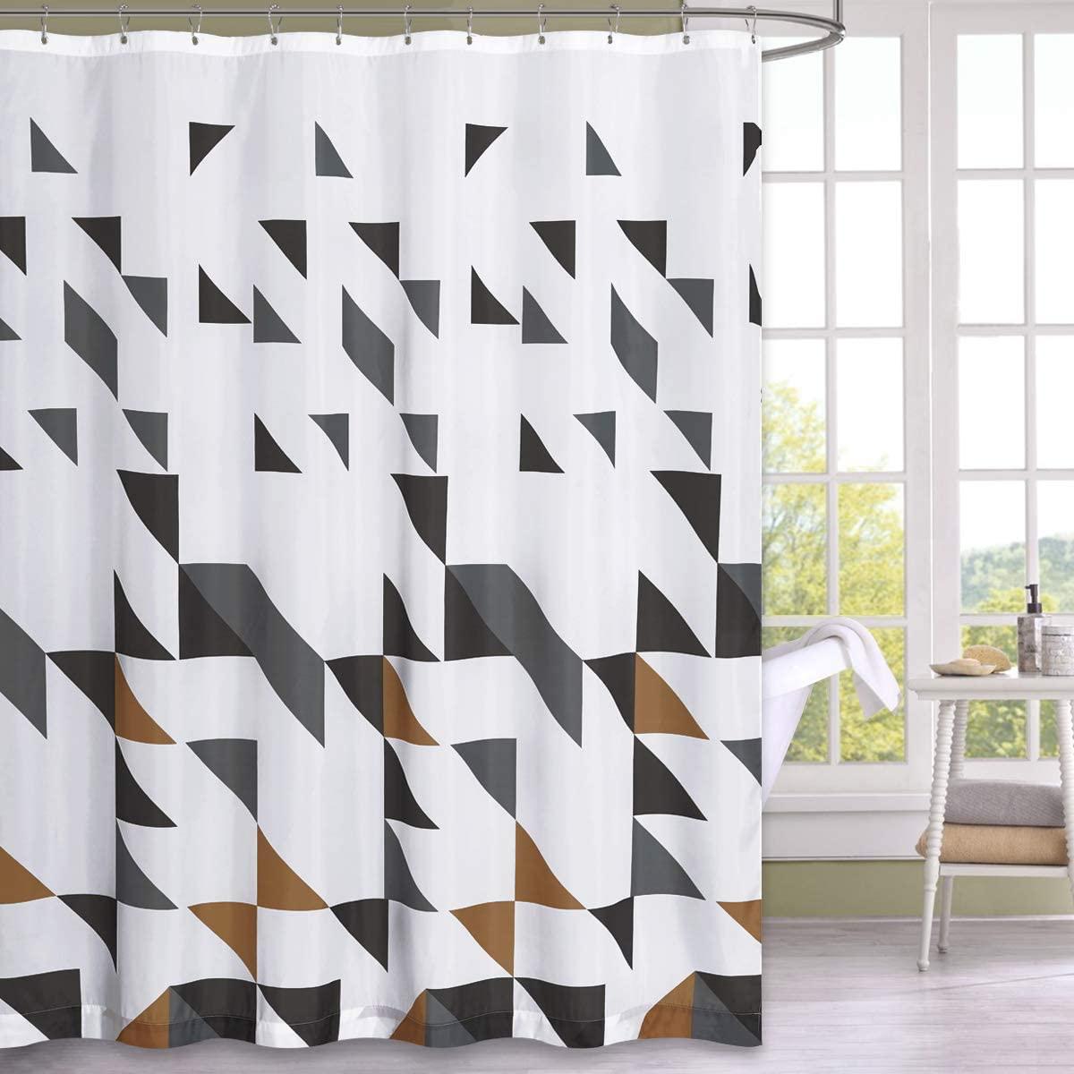 NICETOWN décoratif géométrique imprimé rideau de douche étanche pour salle de bain douches, étals et baignoires crochets inclus