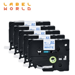 Label World TZe-243 label tape blue on white tze-243 label ribbon Compatible for brother P-TOUCH  label printer 18mm ribbon