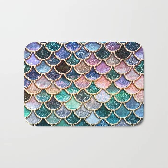 Felpudo nórdico Multicolor con escamas de sirena color rosa y agua, alfombra de baño con estampado, suelo antideslizante para exteriores, Felpudo de puerta delantera para Baño