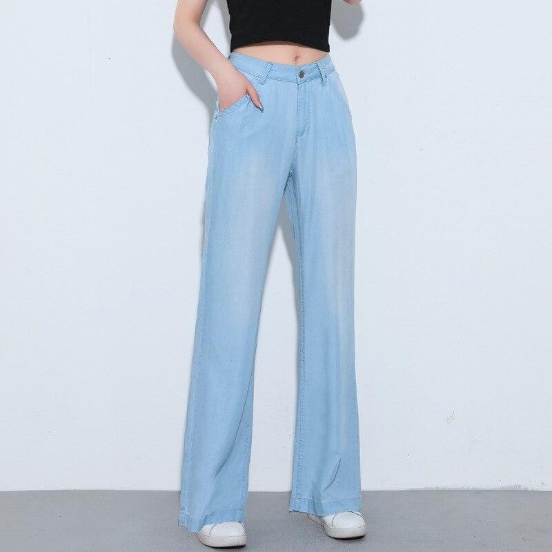 حجم كبير الصيف جديد الجينز للنساء ايوسل الدنيم السراويل بنطال ذو قصة أرجل واسعة عالية الخصر السراويل امرأة ضئيلة مستقيم الساق السراويل YX3180