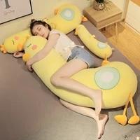 big yellow duck long pillow plush toys cute animal soft doll baby sleep pillow sofa cushion bed decor birthday gift for children
