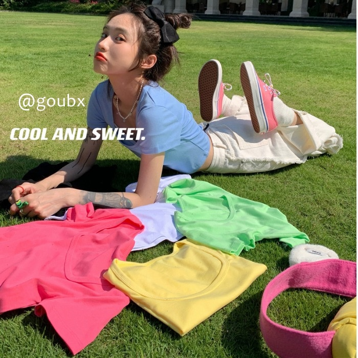 2021spring and Summer New Pure Color Ins Trendy Popular Short T-shirt Women's round Neck All-Matchin