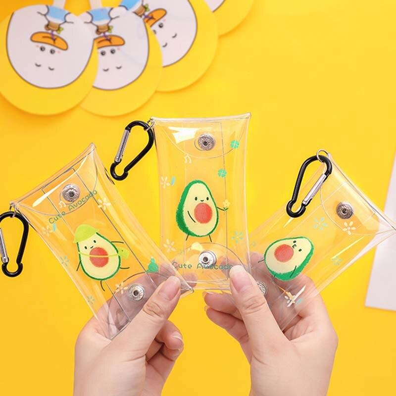 Fashion Transparent PVC Cute Avocado Key Wallet Case Chain Ring Pouch Car Keychain Housekeeper Women Coin Bag Mini Lipstick Bag