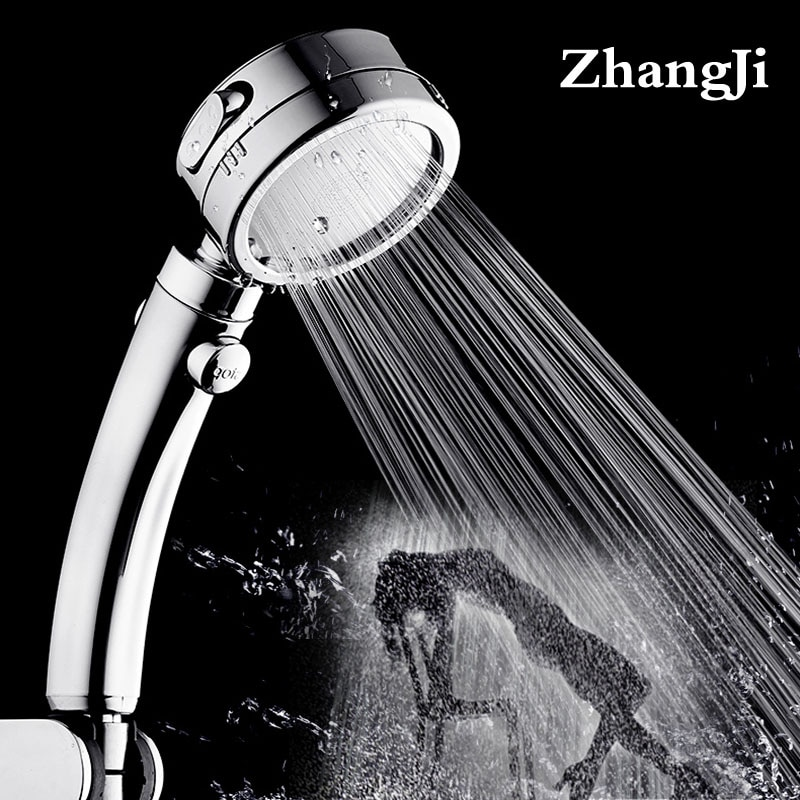 Zhangji pomme de douche en plastique   Placage 3 modes avec bouton de commutation, pomme de douche en plastique réglable poignée de salle de bains nouvellement haute pression