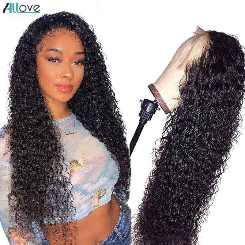 Peluca de pelo humano peruano rizado peluca con malla frontal 13X6 pelucas de cabello humano con encaje frontal para mujeres Peluca de ondas profundas Allove