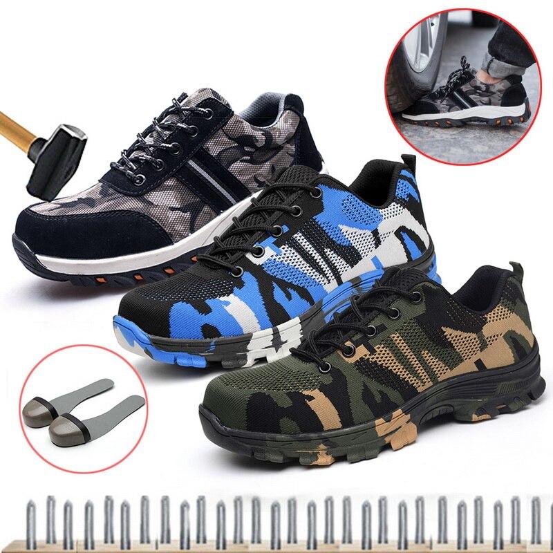 Novo trabalho tênis indestrutível ryder sapatos homem e mulher de aço toe botas de segurança ar à prova de punção sapatos respiráveis