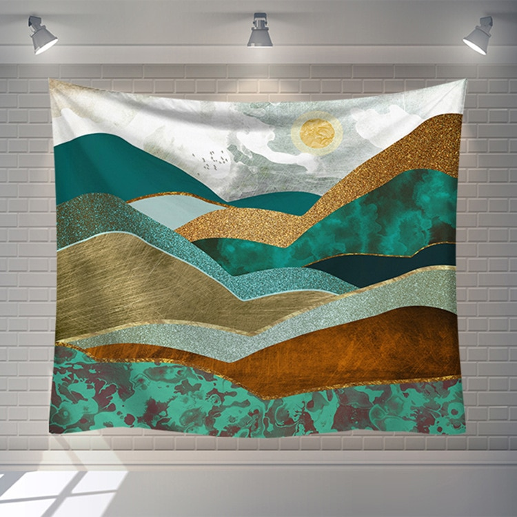 Abstract Landscape Painting Wall Tapestrycarpet Blanket Sun Mountian Wall Cloth Tapestries Landscape Scenery Home Bedroom Decor