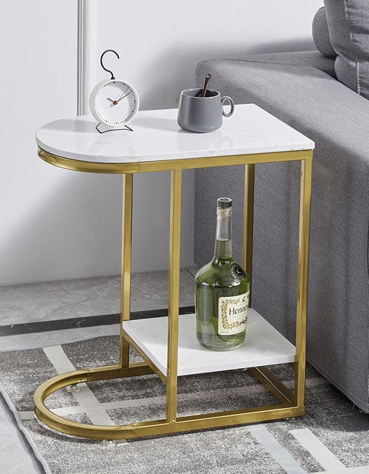 Mesa auxiliar de mármol, mesa de noche, mesa de salón, pequeña mesa de centro, sofá moderno, mesa de esquina, doble capa de mármol