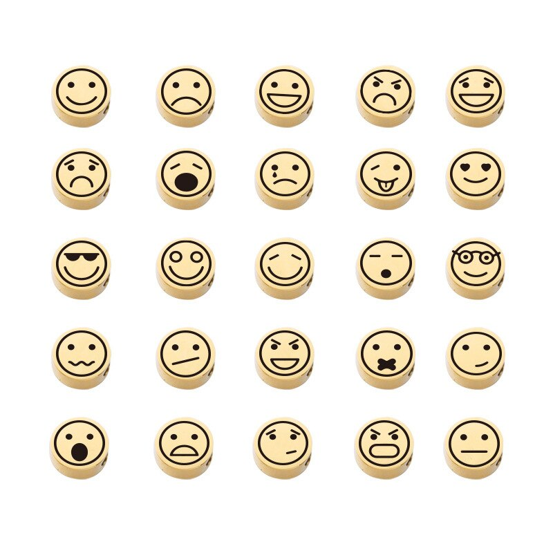 10Pcs Mirror Stainless Steel Mood Emoticons Bead Charms 8mm Necklace Bracelet Round Pendant Gold Plated DIY Jewelry