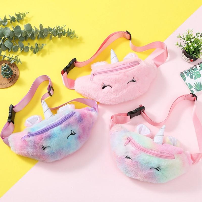 Bolsa de cintura de unicornio de piel de invierno para estudiantes bolsa de pecho de piel de arco iris para niñas riñonera de felpa de pana de dibujos animados bolsa de cinturón bonito para adolescentes