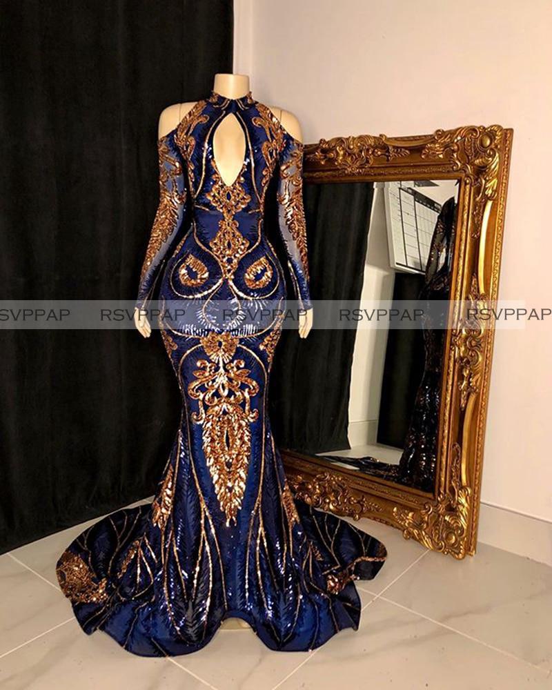 Imagem real vestidos longos do baile de formatura 2020 sexy alta pescoço manga longa azul real e ouro lantejoulas africano preto meninas vestidos de festa do baile