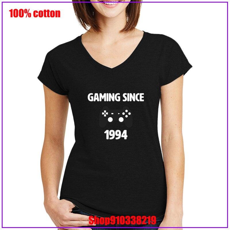 Playstation gaming desde 1994 logotipo branco impresso feminino v pescoço tshirt blusas mujer de moda 2020 verão topo cortado feminino