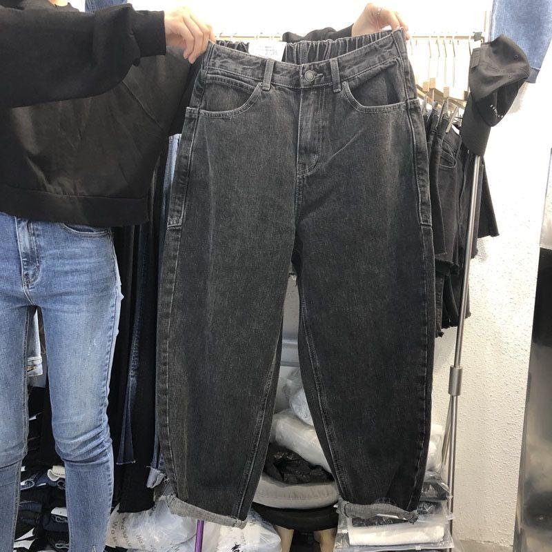 Женские широкие джинсы с карманами, черные или серые свободные повседневные брюки с поясом на резинке, новинка 2021