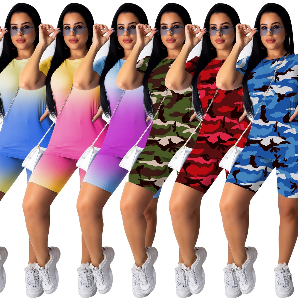 Комплект из 2 предметов, женский спортивный костюм, верхняя одежда, летние байкерские шорты, комплект из двух предметов, повседневный топ с к...