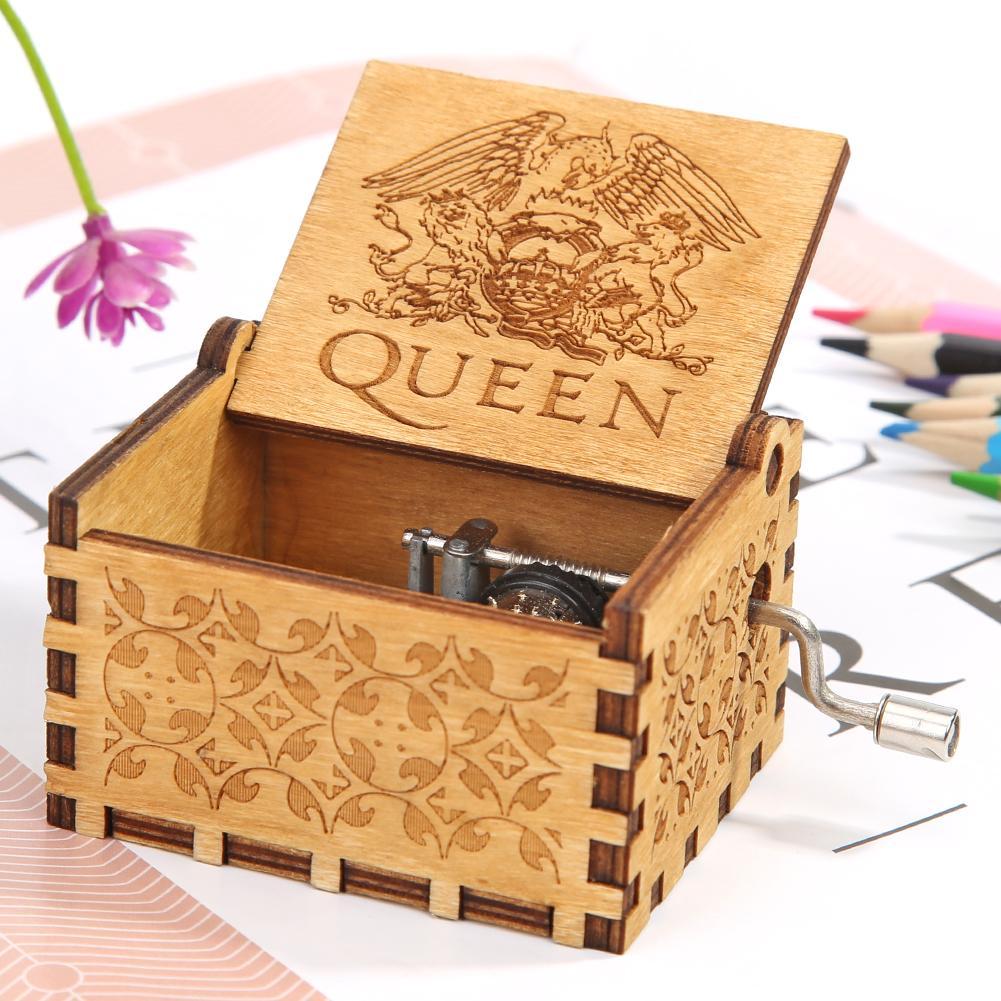 Retro mão de madeira dobrada caixa de música boêmio rhapsody birch compensado diy padrão criativo presente do miúdo ornamento doméstico
